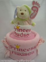 Personalised Nappy Cake gift basket, blanket, bib, face cloth, Soft toy, socks